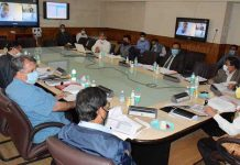 Chief Secretary chairing a meeting at Srinagar onThursday.