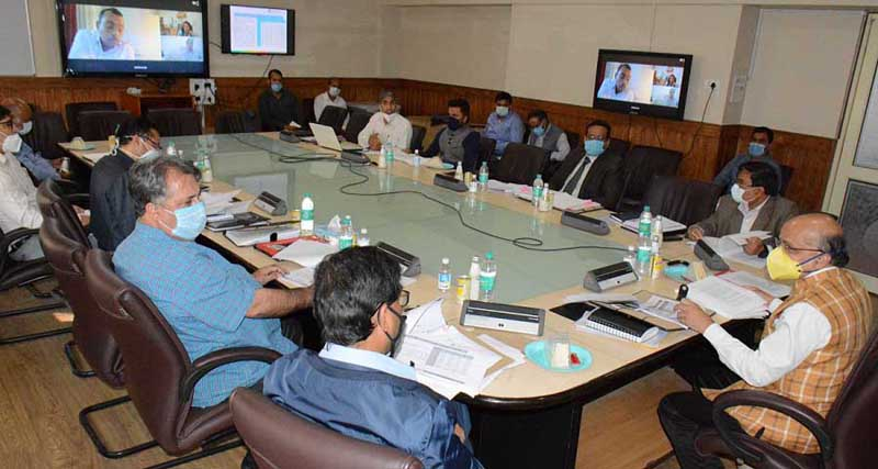 Chief Secretary chairing a meeting at Srinagar onThursday.