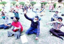 Home Guards during a protest demonstration at Jammu on Monday. -Excelsior/Rakesh