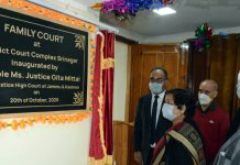 Chief Justice inaugurating family court at Srinagar on Tuesday.