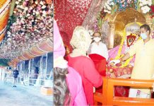 The view of route to holy Bhavan of Mata Vaishno Devi (L) and devotees paying obeisance at holy shrine at Bawe Wali Mata (R) on first Navratra on Saturday. —Excelsior/Mengi/Rakesh