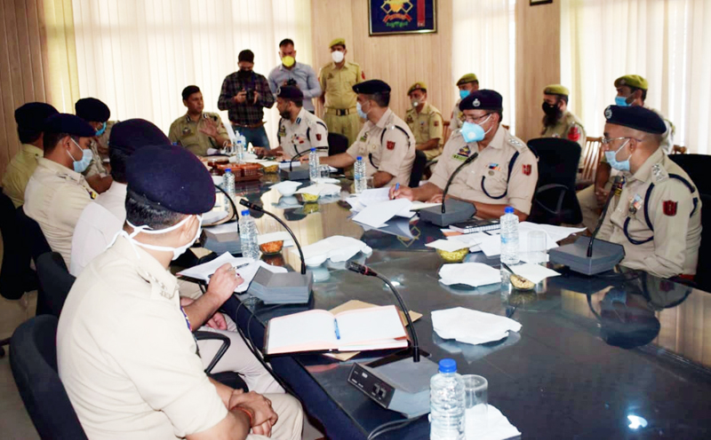 IGP Jammu Mukesh Singh chairing a meeting in Poonch on Monday.