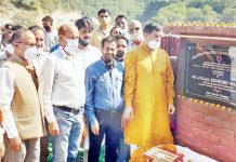 MP Jugal Kishore Sharma inaugurating Dansal-Khatrue road on Tuesday.