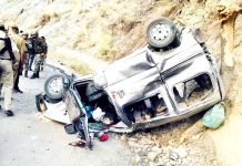 Ill-fated vehicle after accident in Kana Batti area of district Ramban. -Excelsior/Pervaiz