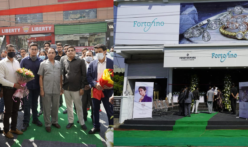 Vijay Saraf, Chairman Fortofino along with Sachin Jain, president, Forevermark India during launch of Fortofino's new store in Jammu.