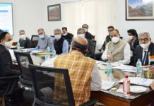 Lt Governor Manoj Sinha chairing a meeting at Srinagar.