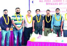 Office bearers of newly formed AIJKBOO posing for a group photograph at Jammu on Friday.