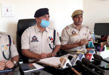 Additional Superintendent of Police Musheem Ahmed interacting with media persons at Kishtwar on Wednesday. -Excelsior/ Tilak Raj