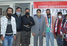 Several Panchayat members joining JKAP at a function in Srinagar.
