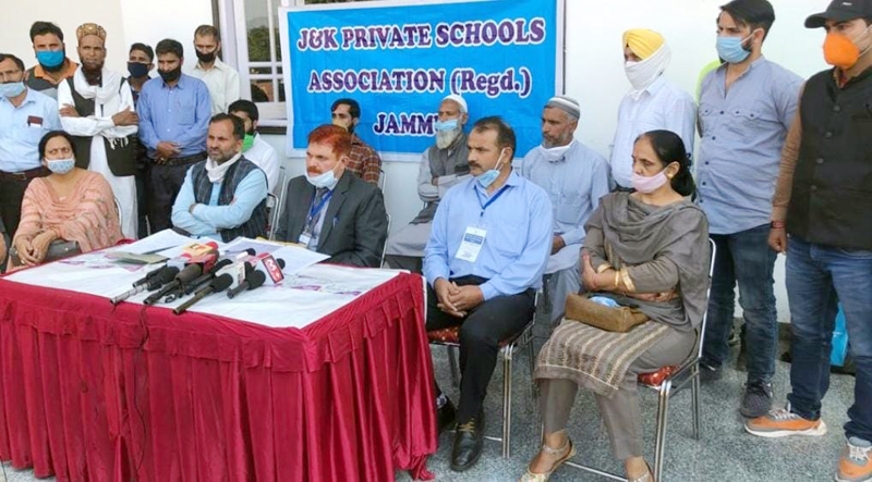 JKPSA leaders during a meeting cum press conference on Monday.