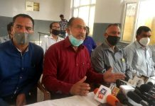 Senior members of JKRCEA addressing joint press conference in Jammu on Tuesday.