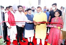 Former Minister Chander Parkash Ganga inaugurating LG showroom at Bari-Brahmana. -Excelsior/Rakesh