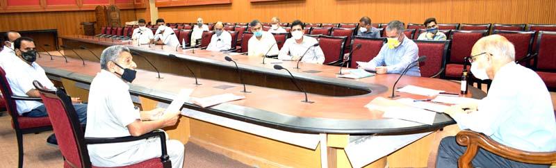 Advisor K K Sharma interacting with a deputation in Jammu on Thursday.