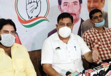 JKPCC chief spokesperson Ravinder Sharma addressing a press conference in Jammu on Wednesday. —Excelsior/Rakesh