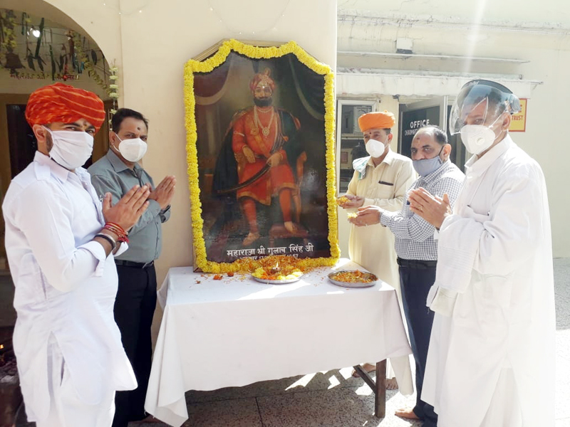 Dharmarth Trust president, Mubarak Singh and others paying tributes to first Dogra Ruler of J&K, Maharaja Gulab Singh on his 228th birth anniversary.
