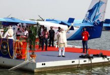 Prime Minister Narendra Modi inaugurating Water Aerodrome and Sea-plane Service between Kevadia and Sabarmati Riverfront in Ahmedabad on Saturday. (UNI)