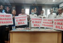 Traders during a protest against CTD on Saturday.