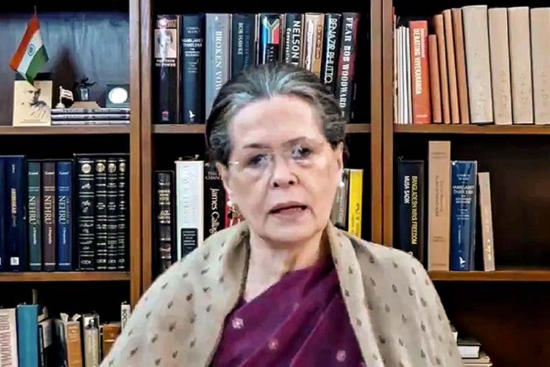 Congress President Sonia Gandhi addressing the people of Bihar ahead of the Assembly Elections, via video link, in New Delhi on Tuesday.