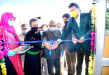 LG Ladakh Radha Krishna Mathur inaugurating newly established RTPCR Laboratory at COVID-19 dedicated hospital Kurbathang. -Excelsior/Basharat Ladakhi