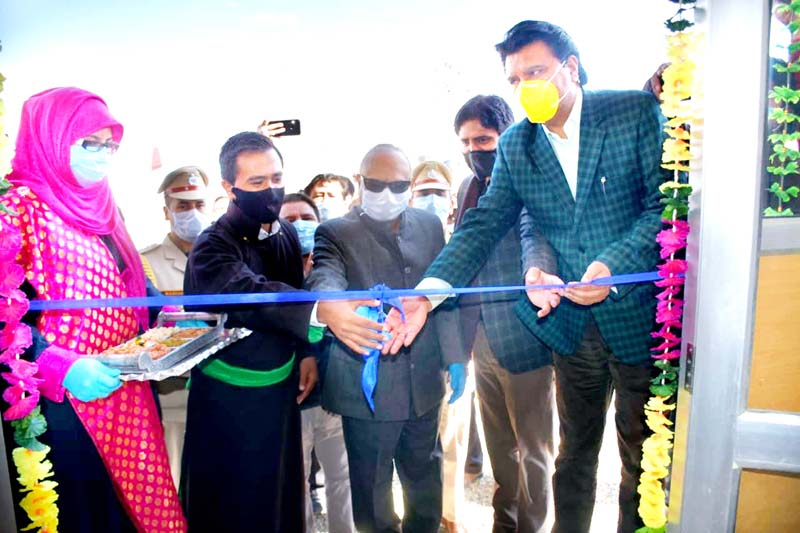 LG Ladakh Radha Krishna Mathur inaugurating newly established RTPCR Laboratory at COVID-19 dedicated hospital Kurbathang. -Excelsior/Basharat Ladakhi