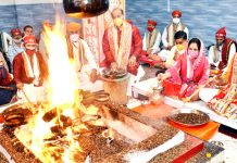 Ramesh Kumar, CEO SMVD Shrine Board and other officers participating in Yagya on Saturday.