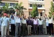 ECPFWA members staging protest in Jammu.