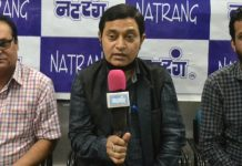 Natrang artist, Neeraj Sharma talking to media on Friday.