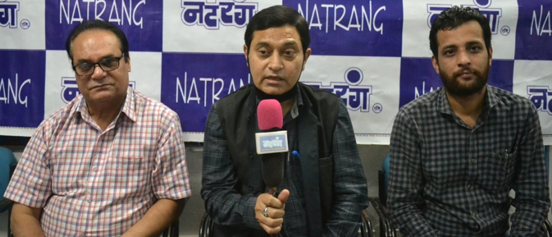 Natrang artist, Neeraj Sharma talking to media on Friday.