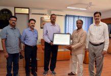 IIRS Outreach Programme University Coordinator, Ar Aditya Kumar Singh presenting certificate to Vice Chancellor SMVDU, Prof Ravindra Kumar Sinha on Wednesday.