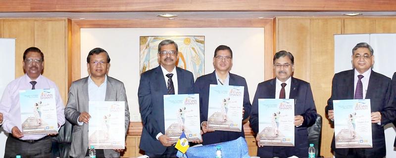 Senior LIC officials launching New Jeevan Shanti Plan.
