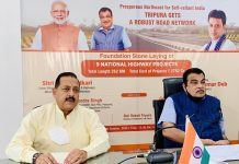 Union Minister Nitin Gadkari launching road projects in Tripura in the presence of Union Minister Dr Jitendra Singh, Chief Minister Biplab Kumar Deb and others, on Tuesday.