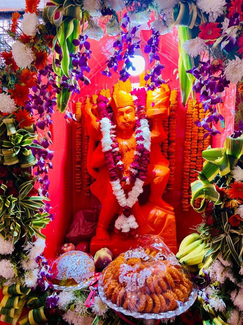 Lord Hanuman's idol installed at Vishwanath temple in Panjtirthi on Saturday.