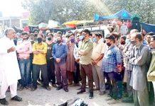 Former MLA, Ashok Kumar during visit to Bus Stand Ramban on Monday.