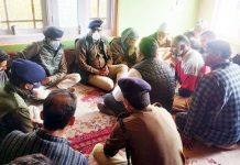 DGP Dilbag Singh interacting with family members of martyred Inspector.