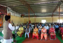 BJP leader, Arun Sharma addressing a meeting of party workers in Samba.