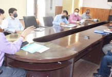 Divisional Commissioner Jammu Sanjeev Verma chairing a meeting on Friday.