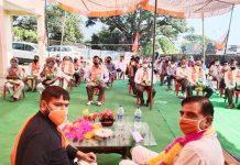 BJP Kissan Morcha leader during a programme at Basholi. -Excelsior/Madan