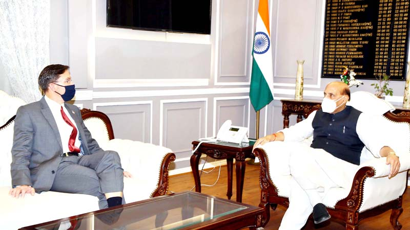 Union Minister for Defence, Rajnath Singh with the US Defence Secretary, Dr. Mark T. Esper in New Delhi.