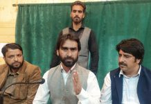 All Tribal Coordination Committee addressing press conference at Srinagar. — Excelsior/Shakeel