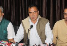 JKPC Chairman, Shafiq Mir addressing a press conference at Jammu on Tuesday.