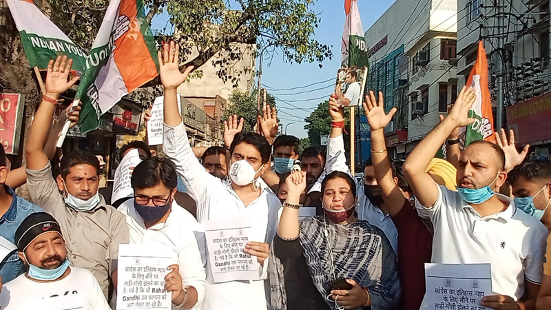 Activists of Youth Congress during a protest demonstration at Jammu on Thursday.