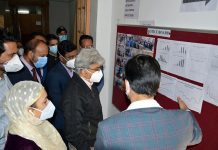 FC Health, Atal Dulloo during visit to DCCR, Kashmir on Friday.