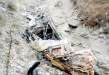 Wreckage of oil tanker which fell into deep gorge from Mughal Road in Poonch area on Friday. -Excelsior/ Ramesh Bali