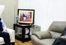 Lieutenant Governor Ladakh R K Mathur calling on Union Minister Dr Jitendra Singh, at New Delhi on Wednesday.
