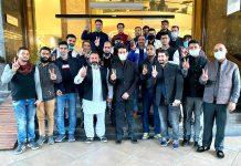 Union MoS, Anurag Thakur with BJP activists at Jammu on Friday.