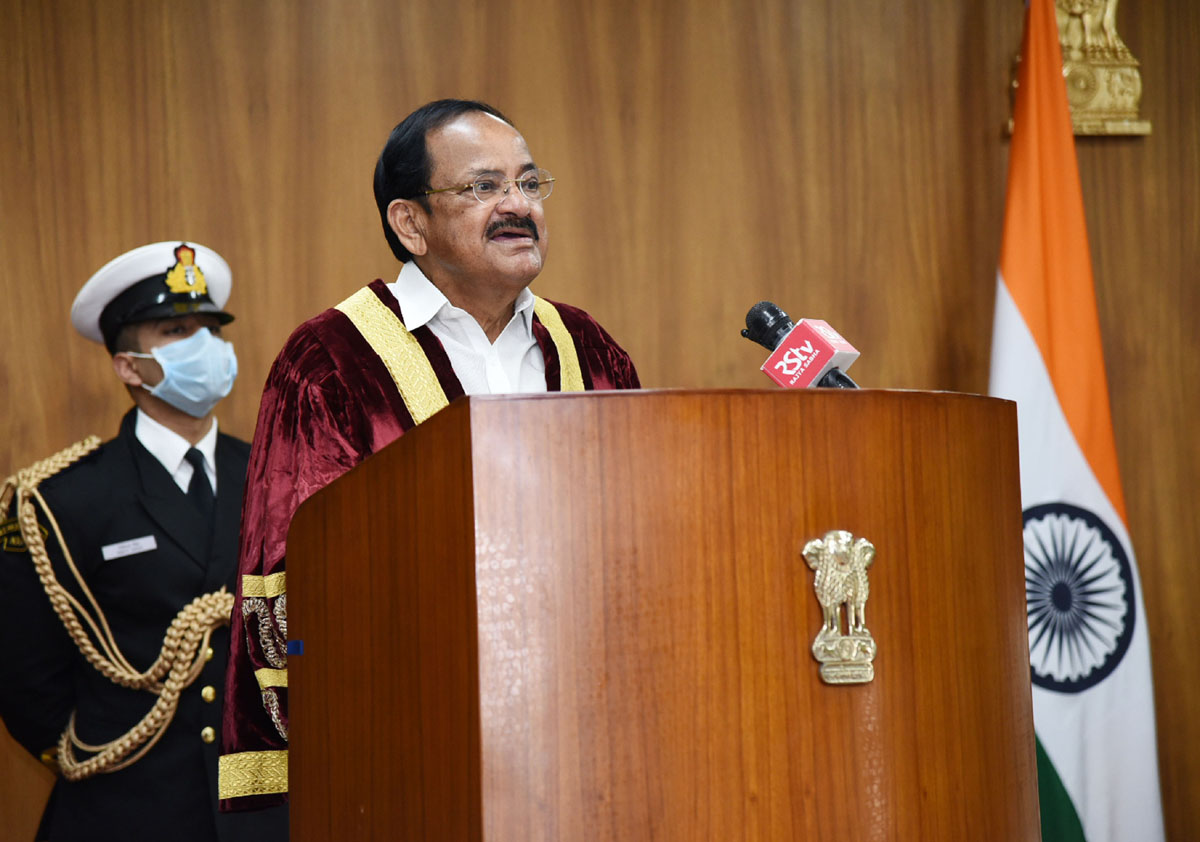 Vice President, M. Venkaiah Naidu virtually addressing the 13th E-Convocation of ICFAI University, Sikkim, in New Delhi on Thursday.