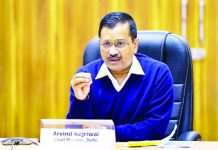 Delhi Chief Minister Arvind Kejriwal speaks in a video conference with Prime Minister Narendra Modi regarding COVID-19 situation.