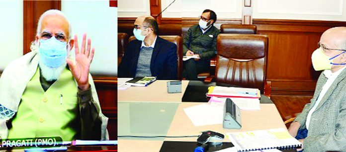 Prime Minister Narendra Modi reviewing Pakal Dul project status with Chief Secretary BVR Subrahmanyam via video conference on Wednesday.