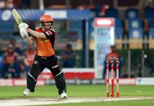 David Warner playing a shot against Mumbai Indians during a match on Tuesday.