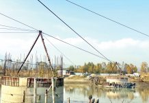 A view of incomplete jetty bridge in Baramulla. - Excelsior/Aabid Nabi
